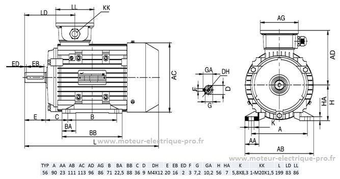 moteur 0.09kw 1500tr B3