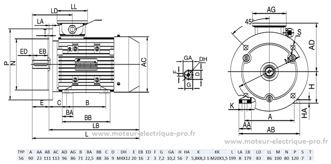 moteur 0.09kw 1500tr B35
