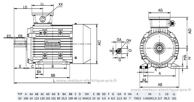 moteur 0.12kw 1500tr B3