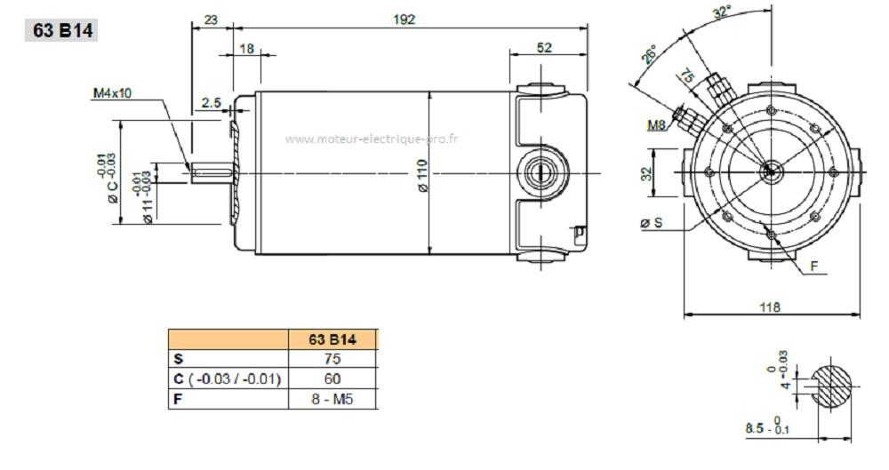 Moteur continu Transtecno EC350.240 63B14