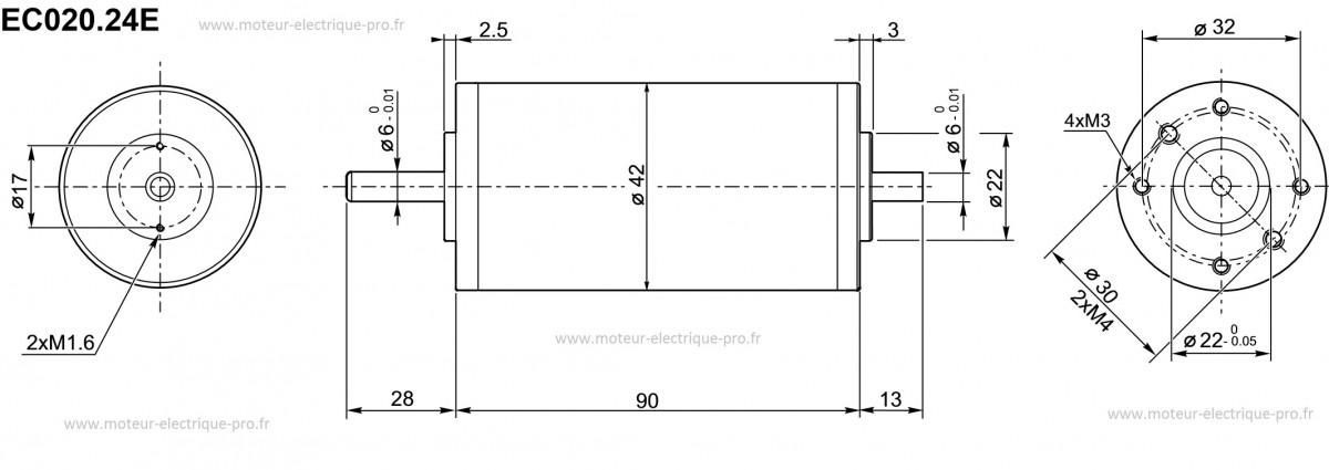 Moteur 24 volts 3000 tr/min Transtecno EC020-24E