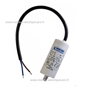 Condensateur moteur electrique 8 µf 450 V permanent à câble