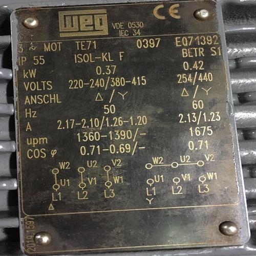 Moteur WEG 0.37kW 1500 à patte