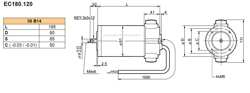 Moteur électrique continu Transtecno EC180.120 56B14