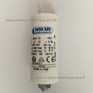 Condensateur 10 µf 450 V à cosses de marque COMAR