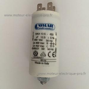Condensateur 12.5 µf permanent 450 V sur www.moteur-electrique-pro.fr