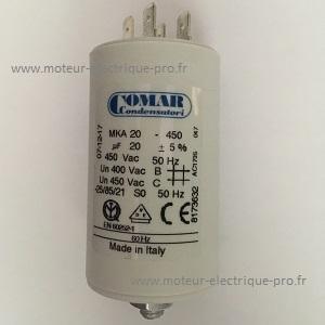 condensateur permanent pour moteur 20 microfarads