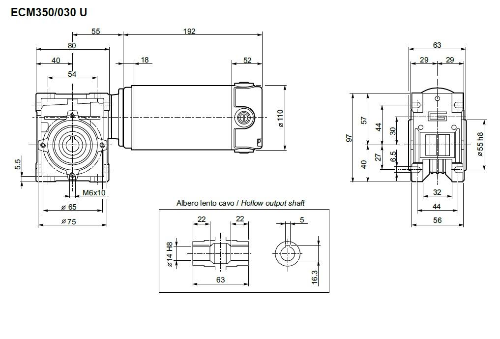 motoréducteur 12 volts Transtecno ECM350-030