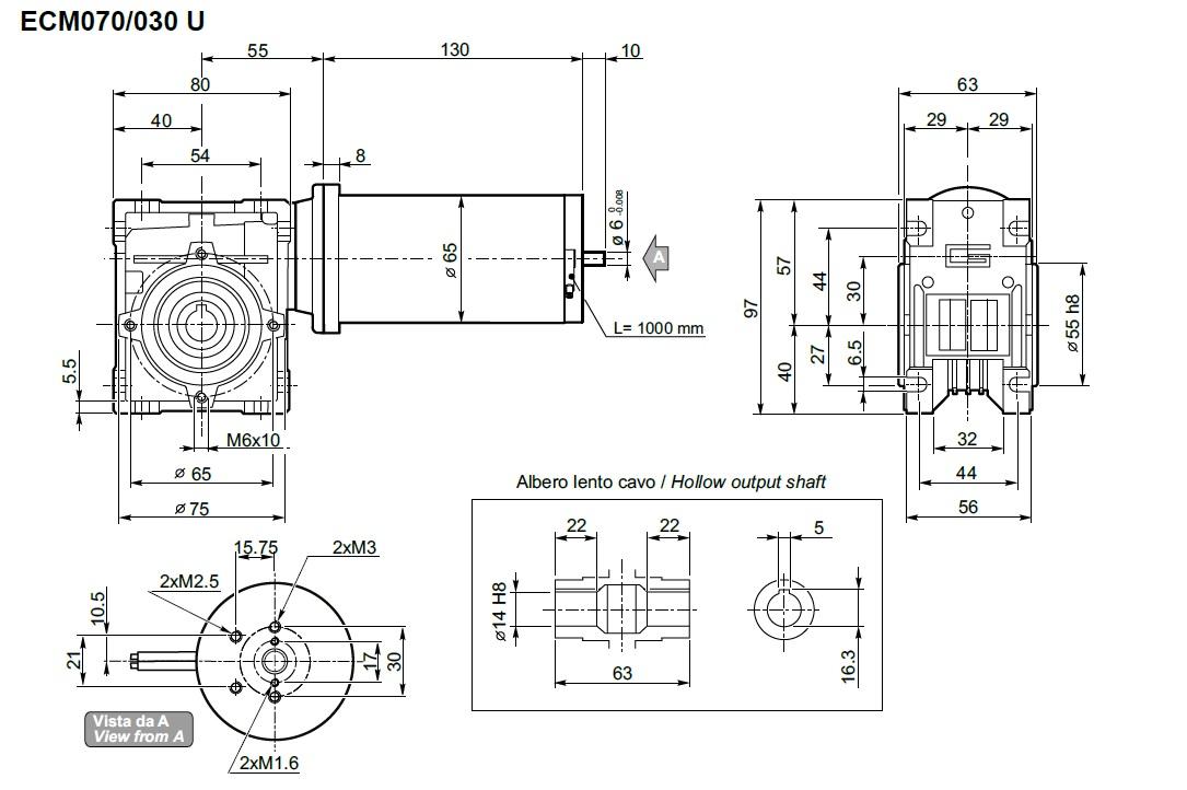 Motoréducteur 12 Volts TRANSTECNO ECM070-030