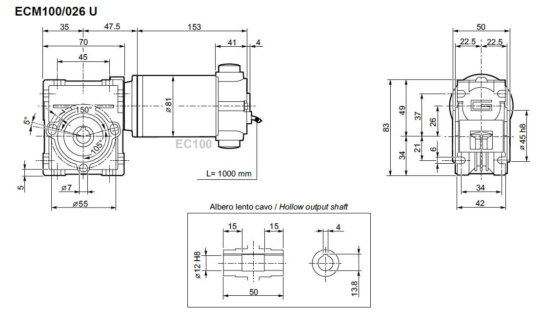 Motoréducteur roue et vis 12V TRANSTECNO ECM100-026