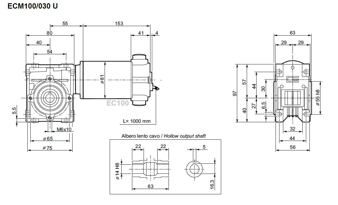 Moto réducteur 12V TRANSTECNO ECM100-030