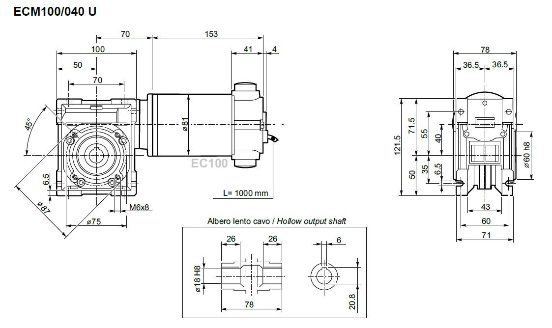 Moto réducteur 24 volts Transtecno ECM100-040
