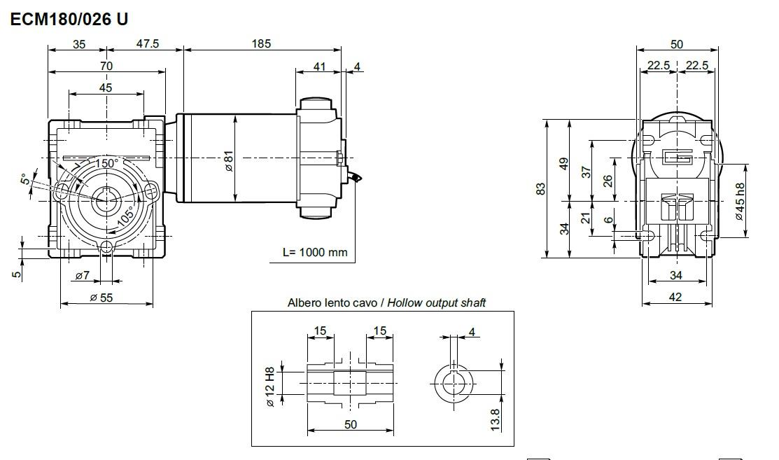 Motoréducteur Transtecno 12V ECM180-026