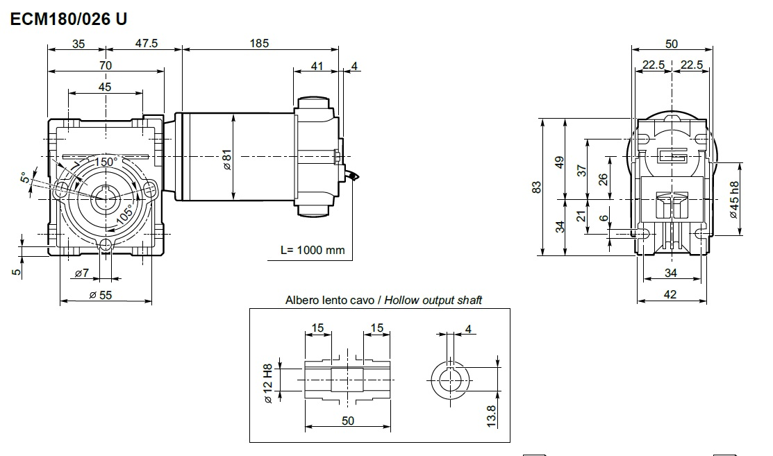 Motoréducteur Transtecno 24V ECM180-026