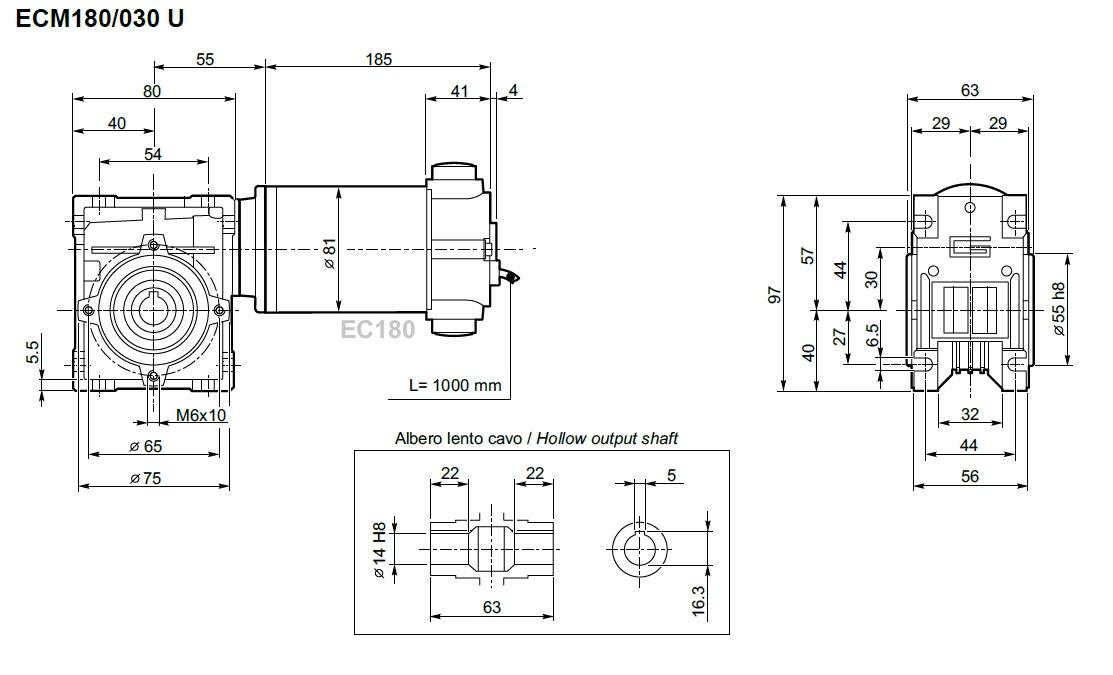 motoréducteur Transtecno 12 volts ECL180-030