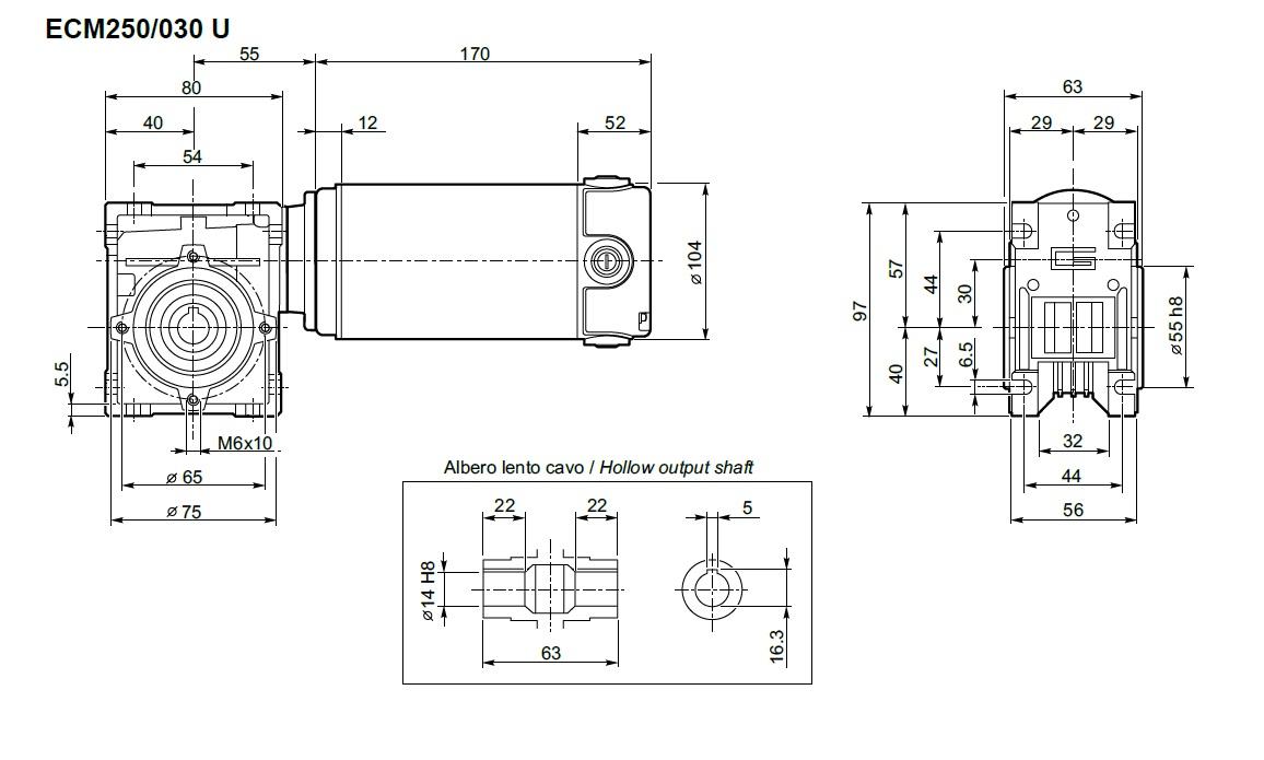 moto réducteur Transtecno 12V ECL250/030U