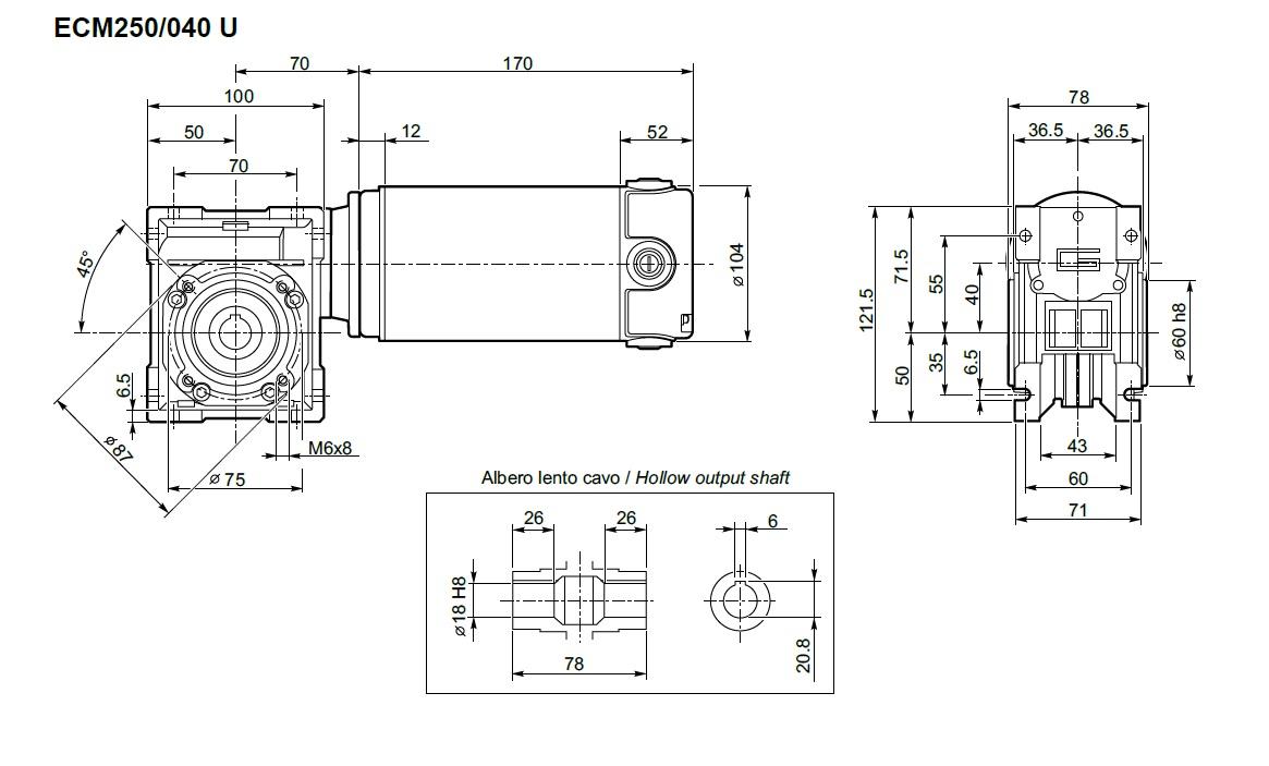 motoréducteur roue vis 12V ECM250/040 U