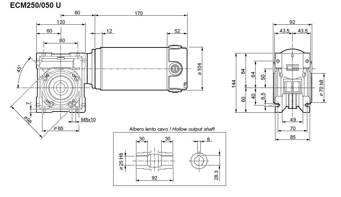 moteur réducteur 12 volts Transtecno ECM250-050