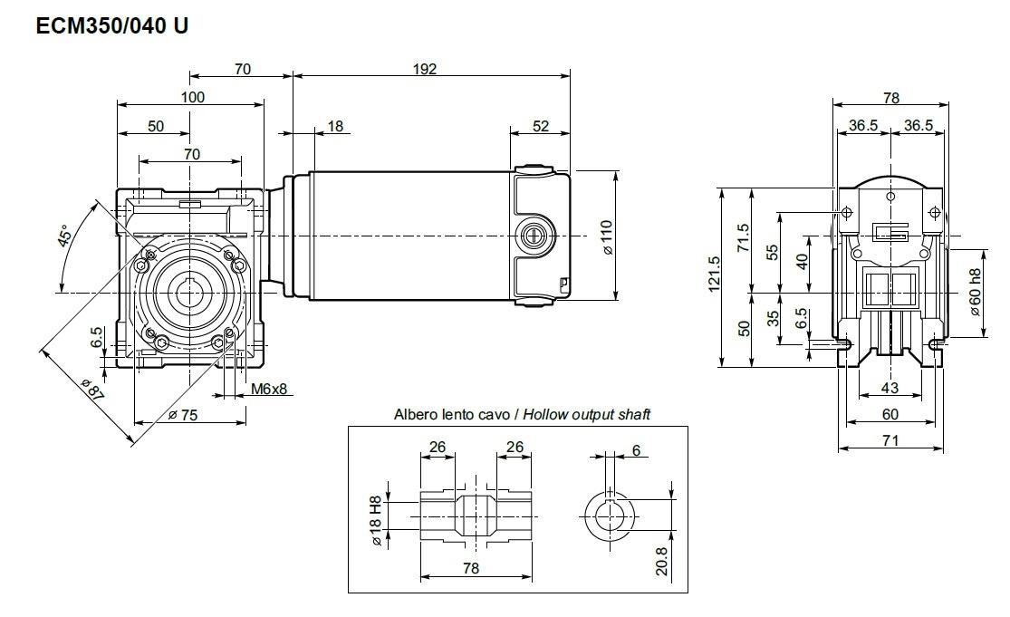 moto-réducteur 12 V Transtecno ECM350/040