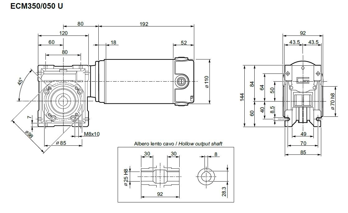 Transtecno motoréducteur 24 volts ECM350-050