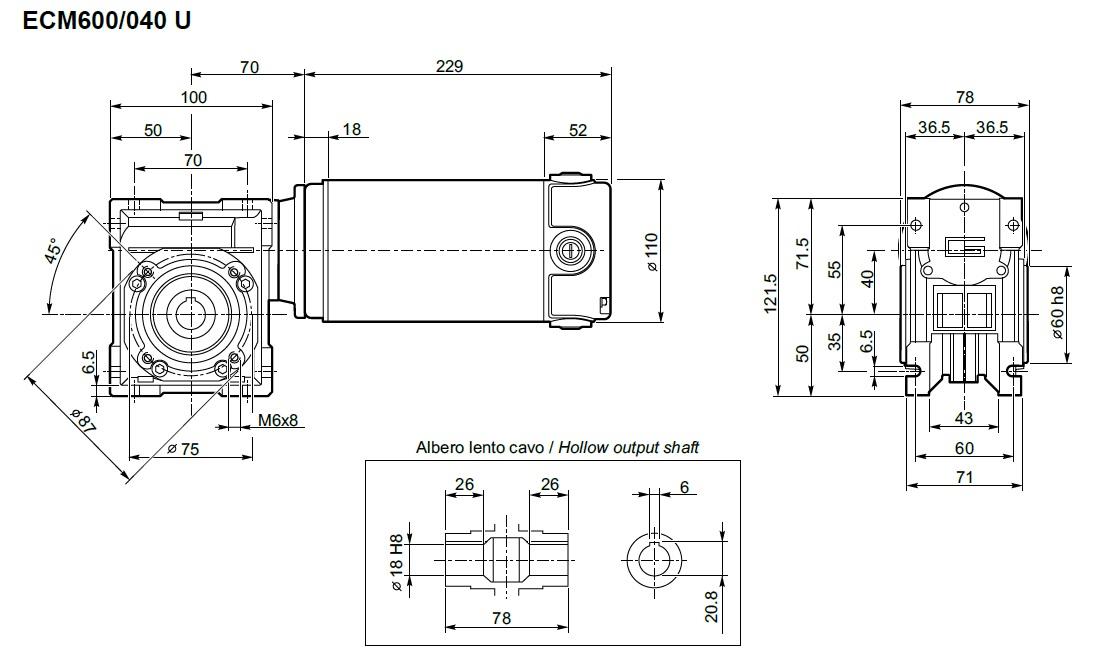 motoréducteur ECM Transtecno type ECM600/040 12V