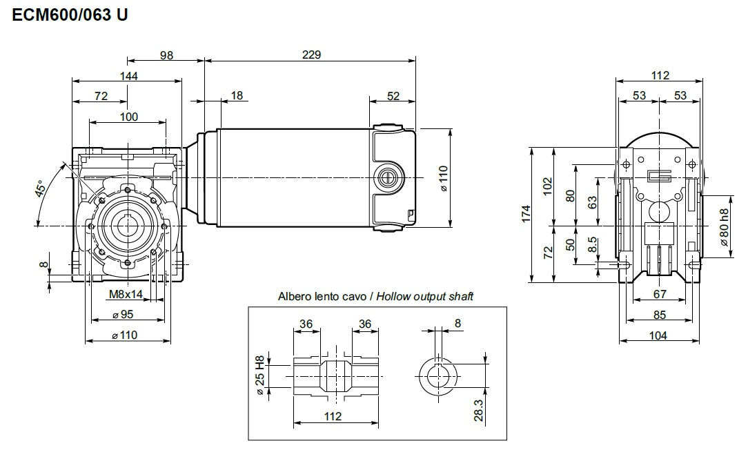 Réducteur et moteur 12V Transtecno ECM600-063