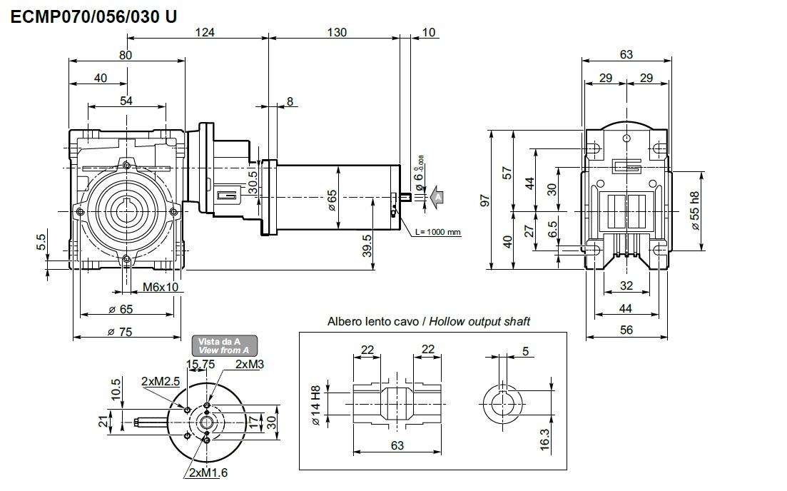 moteur 24 volts avec réducteur Transtecno ECMP070/056/030