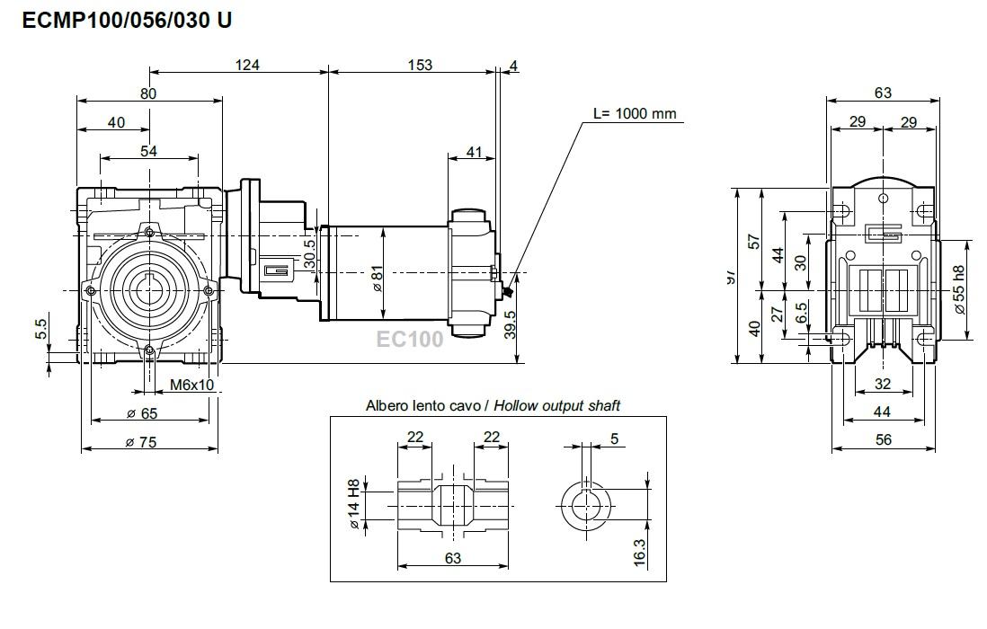 Motoréducteur Transtecno ECMP 100/056/030 24 volts