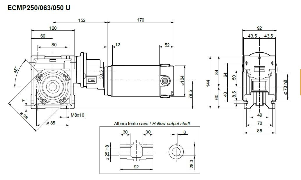 Moteur 24 volts et réducteur Transtecno ECMP250/063/050