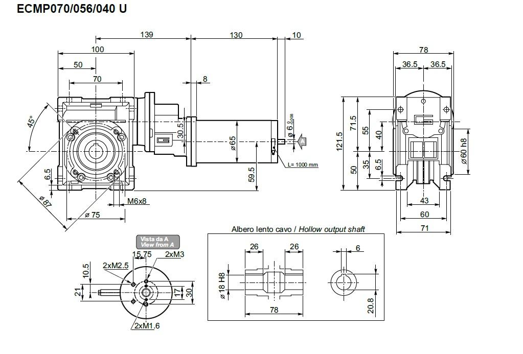 Moteur 12V avec réducteur roue et vis Transtecno CMP070/056/040 100W