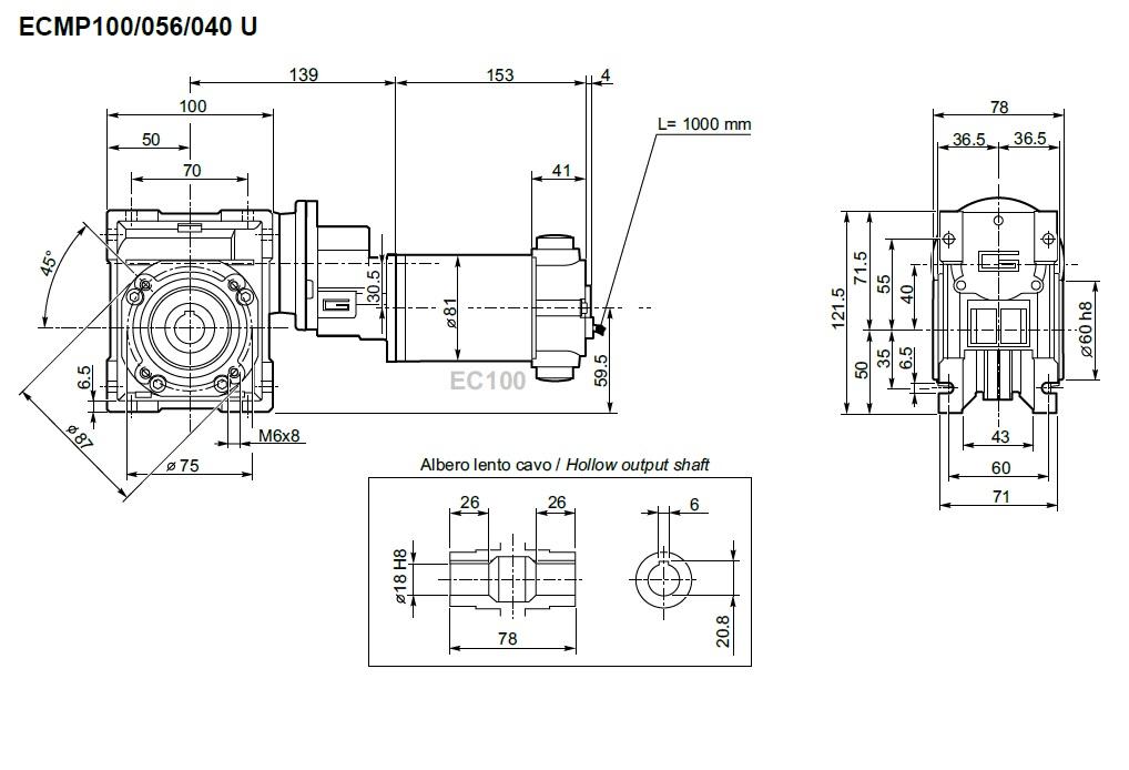 Transtecno motoréducteur ECMP 100-056-040 roue et vis 140W 12V