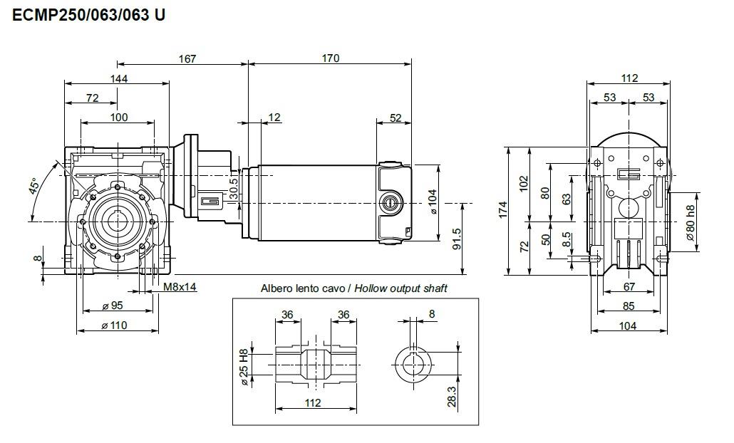 Motoréducteur ECMP Transtecno 250/063/063 350W 12V