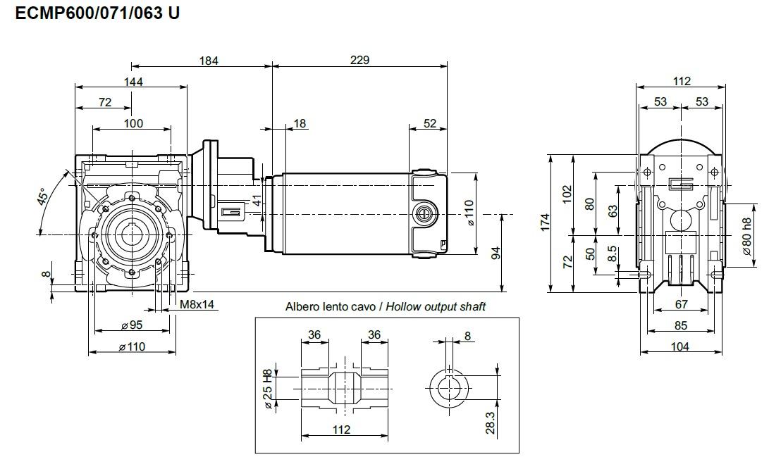 motoréducteur 12V Transtecno roue et vis ECMP600/071/063 800W
