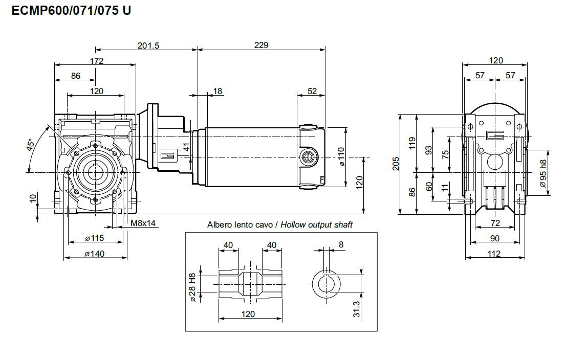 Motoreducteur 12 volts roue et vis Transtecno ECMP600/071/075 800W