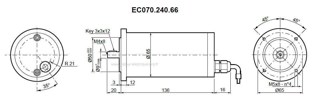Moteur électrique Transtecno IP66 EC070.240.66