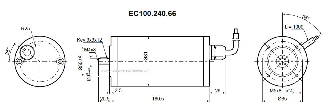 Moteur Transtecno IP66 EC100.240.66 24V 100W