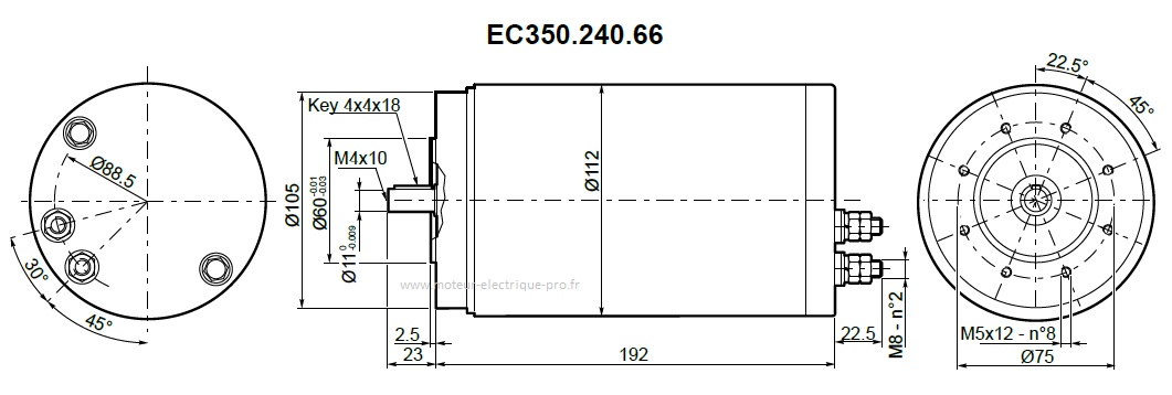 Transtecno moteur 24V IP66 EC350.240.66