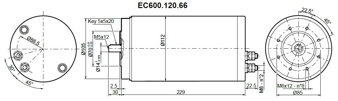 Moteur aimants permanents Transtecno 12V IP66 EC600.120.66