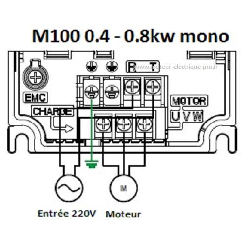 Variateur de fréquence 0.4kw - variateur de fréquence 0.8kw M100 LS Electric Branchement